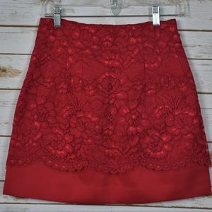 Special Occasion Red Skirt With Lace Overlay Sz 6